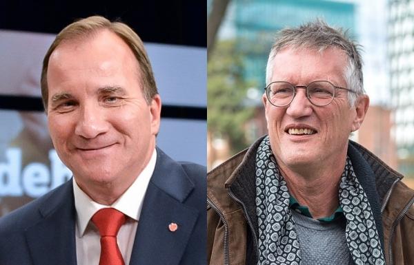 (왼쪽부터) 스웨덴 스테판 뢰벤 총리, 안데스 텡넬 공공보건청장.