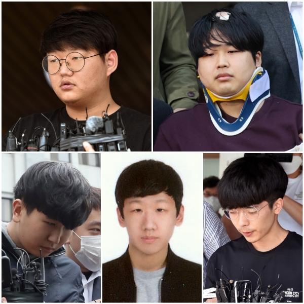 왼쪽부터 시계 방향으로  '갓갓' 문형욱(24), '박사' 조주빈(24), '이기야' 이원호(19), '부따' 강훈(19), 안승진(24).