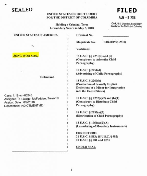 미국 법무부의 손정우에 대한 기소장. 손정우는 총 9개 혐의로 기소됐다. ⓒ미국 법무부