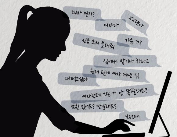 온라인 게임, SNS 등에서 광범위하게 사용되고 있는 여성혐오 표현을 그냥 내버려둬야 할까? 이런 표현이 여성들에게 분노, 우울, 물리적 고통을 동반한 트라우마 등 심각한 피해를 끼친다는 연구 결과가 나왔다. ⓒ박규영 웹디자이너
