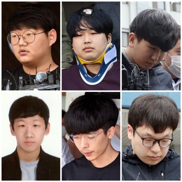 왼쪽부터 시계방향으로  '갓갓' 문형욱(24), '박사' 조주빈(24), '이기야' 이원호(19), '부따' 강훈(19), 안승진(24), 남경읍(29). ⓒ여성신문