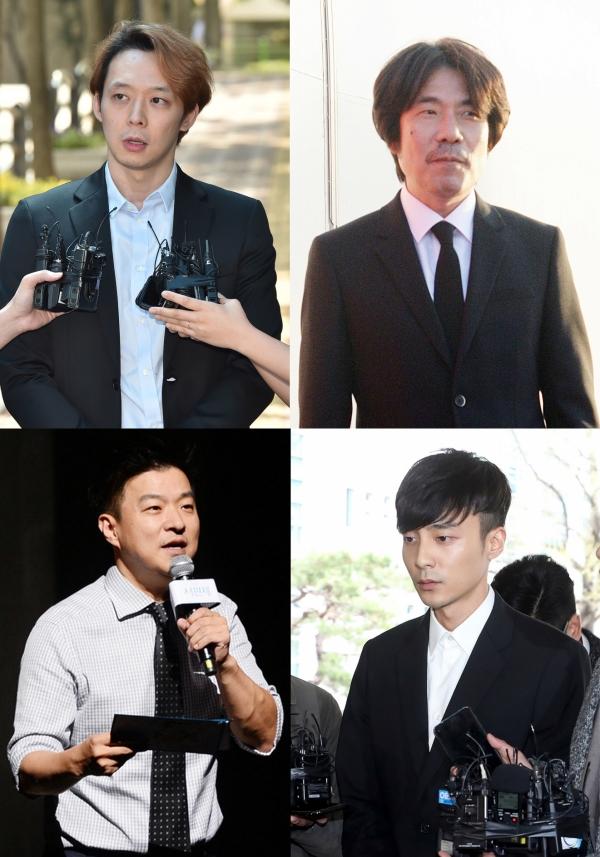 성범죄 논란에 휩싸였던 남성 연예인들이 최근 잇따라 복귀를 예고하거나 활동을 재개했다. (왼쪽부터 시계방향으로) 박유천, 오달수, 로이킴, 김생민. ⓒ뉴시스·여성신문