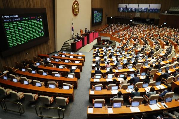 지방세법 일부개정법률안이 4일 서울 여의도 국회에서 열린 본회의에서 가결되고 있다. ⓒ뉴시스·여성신문