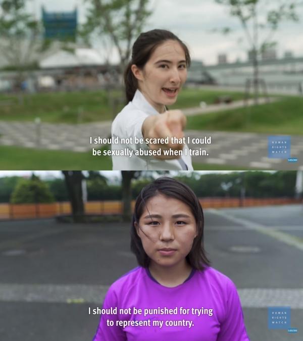 """휴먼라이츠워치의 스포츠폭력 실태조사에 응한 선수들은 """"훈련하면서 성학대를 당할까봐 두려워하지 않아야 한다"""" """"국가대표가 되려 노력한다는 이유로 벌을 받지 않아야 한다""""고 말했다. ⓒHuman Rights Watch 유튜브 영상 캡처"""