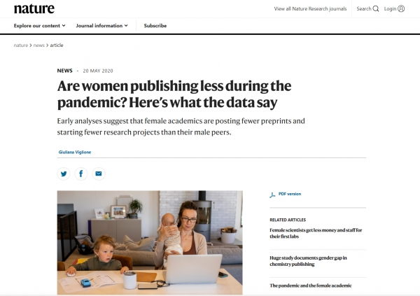 """지난 5월 20일 과학저널 '네이처'지에는 """"돌봄 책임이 늘면서 여성들은 남성 동료들보다 커리어에서 뒤처지고 있다""""는 분석이 실렸다. ⓒNature 웹사이트 캡처"""