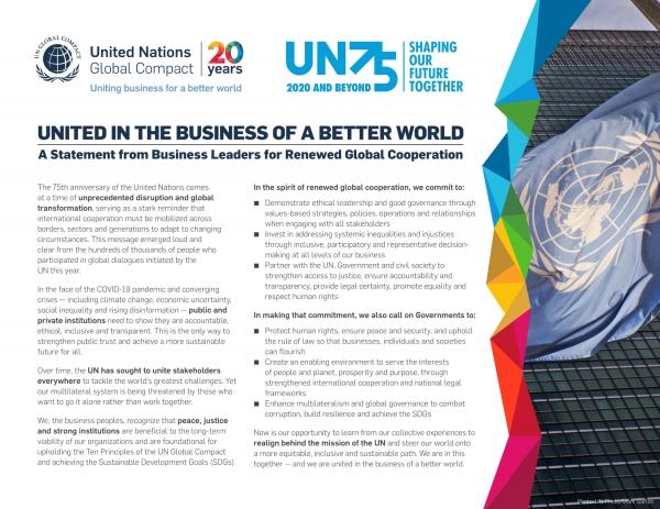 UN 창립 75주년 기념 '새로운 글로벌 협력을 위한 CEO 성명' ⓒUN