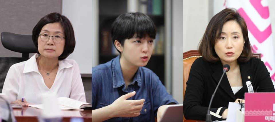 (왼쪽부터) 권인숙 더불어민주당 의원, 류호정 정의당 의원, 전주혜 국민의힘 의원. ⓒ 여성신문, 뉴시스