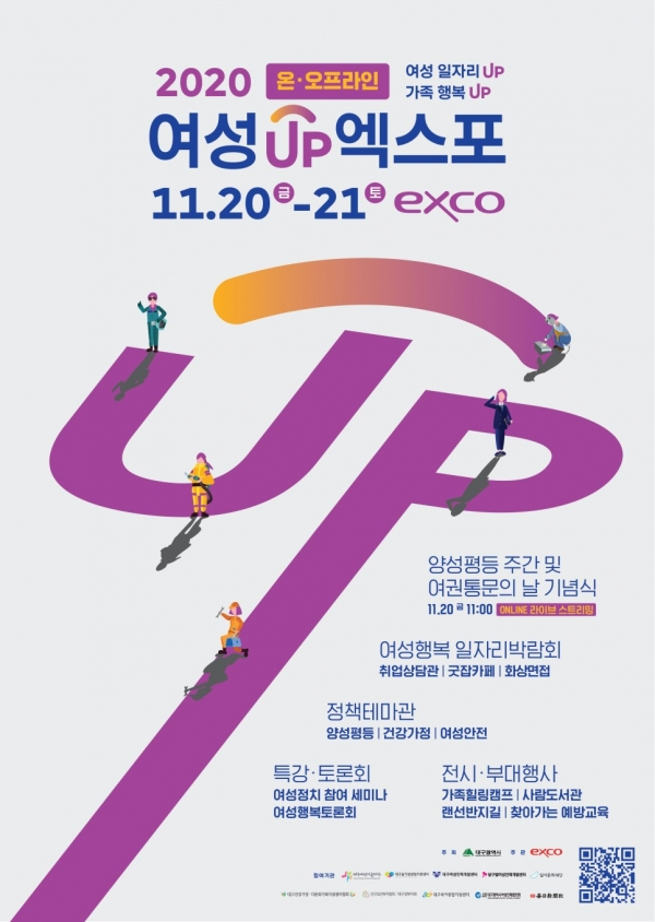 대구시(시장 권영진)는 코로나19 확산으로 연기했던 제5회 '2020 여성UP엑스포'를 온‧오프라인으로 20일부터 21일 양일간 개최한다.