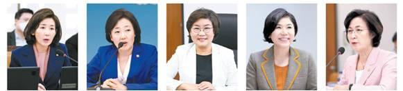 (왼쪽부터) 나경원 전 통합당 의원·박영선 중소벤처기업부 장관·이혜훈 전 통합당 의원 ·조은희 서초구청장·추미애 법무부 장관(가나다 순). ⓒ여성신문·뉴시스