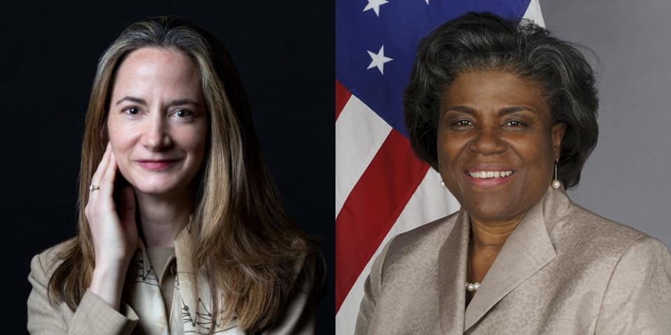 (왼쪽부터) 애브릴 헤인스 미 국가정보국(DNI) 국장 지명자, 린다 토머스 그린필드 UN대사 지명자 ⓒColumbia University, 위키피디아