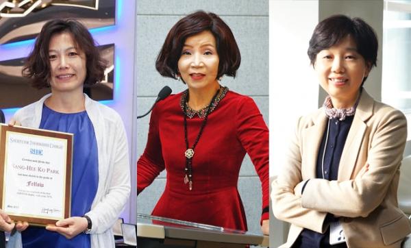 (왼쪽부터) '2020 올해의 여성과학기술인상' 수상자인 박상희 KAIST 신소재공학과 교수, 이명선 청주대 바이오메디컬학과 교수, 장영래 LG화학 수석연구위원·상무 ⓒ본인 제공, SID