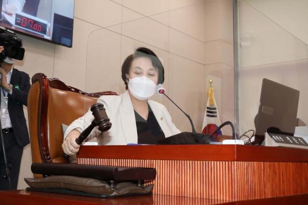 17일 오전 국회에서 열린 여성가족위원회 전체회의에서 정춘숙 위원장이 의사봉을 두드리고 있다. (공동취재사진)