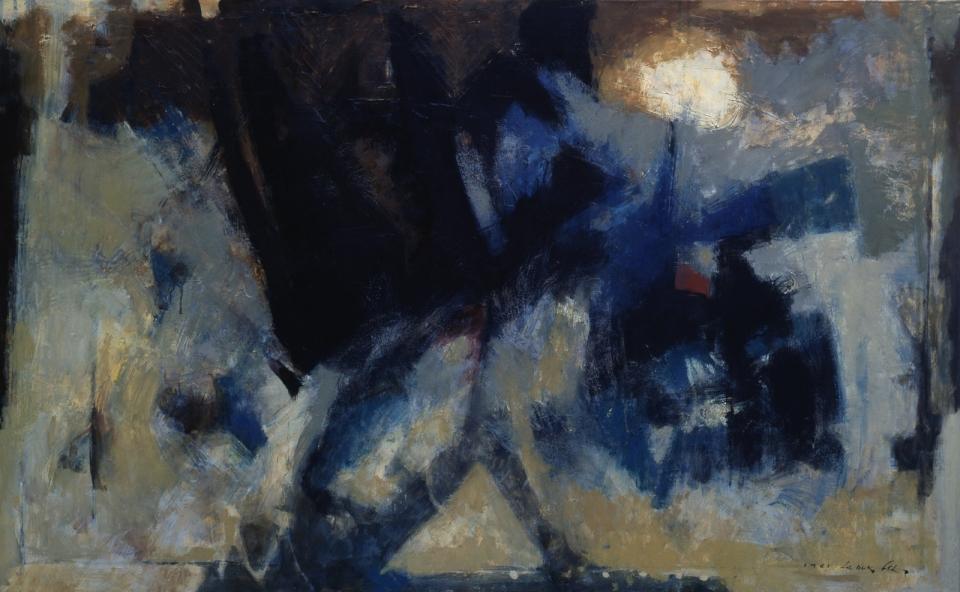 이세득 Lee SeDuk, 허(虛) The Cosmos, 1961, 캔버스에 유채 Oil on canvas, 90×145cm© Image Copyright Lee SeDuk Estate (사진=유족 제공)최고운 큐레이터 = 작가의 격앙된 감정을 쏟아내고 있는 듯한 거칠고 원시적인 검은 표현주의적 필법과 제스처, 대담한 비정형의 추상 구성이 돋보인다. 물감의 중첩된 층들로 구성된 두터운 텍스처가 서로 엉기고 덮친 형태들 사이로 번져 나오는 듯한 기법으로 억압된 감정을 드러냈다.