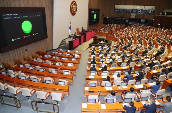 소득세법 일부개정법률안이 지난 8월 서울 여의도 국회에서 열린 본회의에서 가결되고 있다 ⓒ뉴시스
