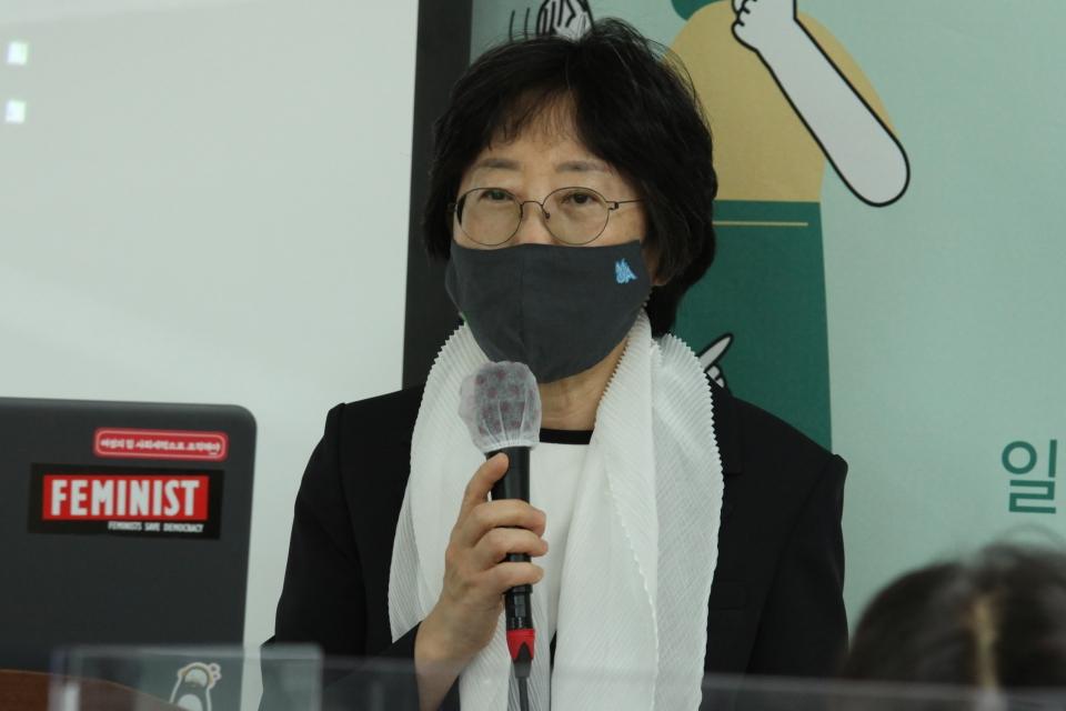 3일 오전 서울 여의도 KMA 여의도센터에서 한국여성의정과 한국여성정책연구원이 '정치관계법 개정 토론회'를 열고 문유경 한국여성정책연구원 원장은 발언을 하고 있다. ⓒ홍수형 기자