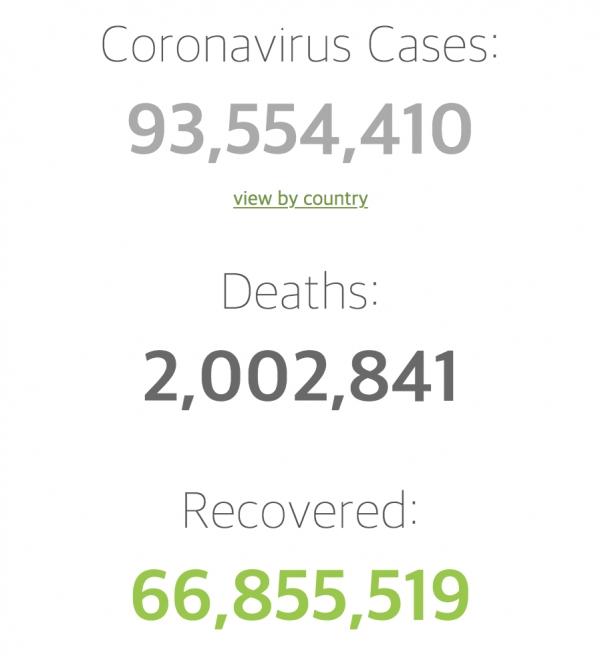 세계 코로나19 사망자 수가 200만명을 넘어섰다. ⓒ월드오미터 홈페이지 캡처