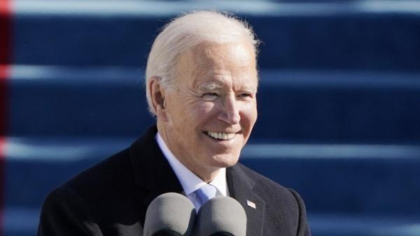 조 바이든 미국 대통령이 현지시간 20일 워싱턴DC 연방의사당 야외무대에서 열린 대통령 취임식에서 연설하고 있다. ⓒAP∙뉴시스