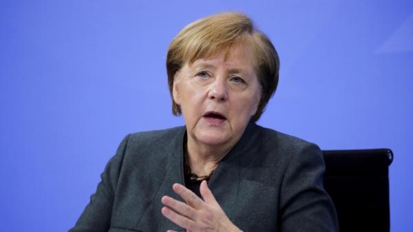 앙겔라 메르켈 독일 총리가 현지시간 19일 베를린 총리관저에서 코로나19 대책 기자회견을 하고 있다.  ⓒAP/뉴시스