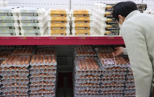 고병원성 조류인플루엔자(AI)가 확산하며 계란 값이 상승하고 있는 가운데 서울 한 마트에서 소비자가 계란을 고르고 있다. ⓒ뉴시스·여성신문