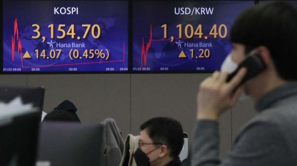 코스피가 전 거래일(3140.63)보다 3.38포인트(0.11%) 오른 3144.01에 출발한 25일 오전 서울 중구 하나은행 딜링룸 전광판에 지수가 표시되고 있다.  ⓒ뉴시스