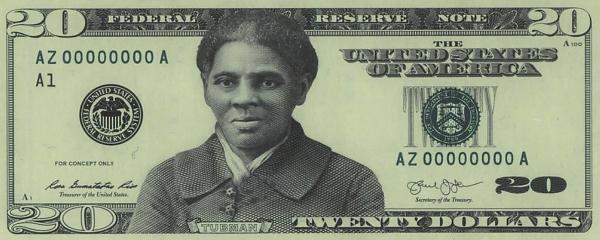 현재 20달러 지폐에 해리엇 터브먼을 삽입해 만든 가상 디자인. ⓒ미연방인쇄국(BUREAU OF ENGRAVING AND PRINTING)