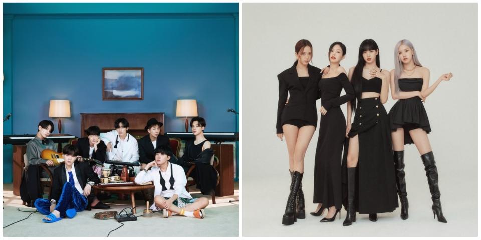 그룹 방탄소년단(왼쪽)과 블랙핑크. ⓒ빅히트엔터테인먼드 / YG엔터테인먼트 제공