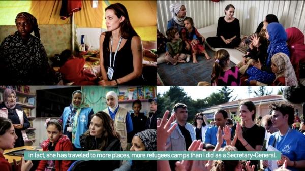 앤젤리나 졸리 유엔난민기구 특사는 지난 20년간 난민을 직접 만나고 구호활동을 하는 등 난민 문제 해결을 위한 목소리를 내왔다.  ⓒ유튜브 실시간 스트리밍 캡처