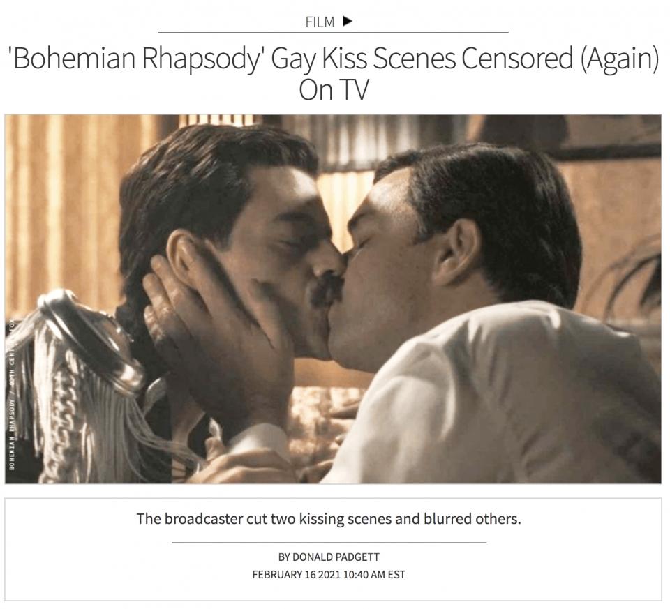 16일(현지시간) 미국 LGBTQ 전문 잡지 아웃은 SBS가 영화 '보헤미안 랩소디'를 방영하며 동성 간 키스 장면을 삭제하거나 모자이크 처리했다고 보도했다. ⓒ아웃 홈페이지 캡처