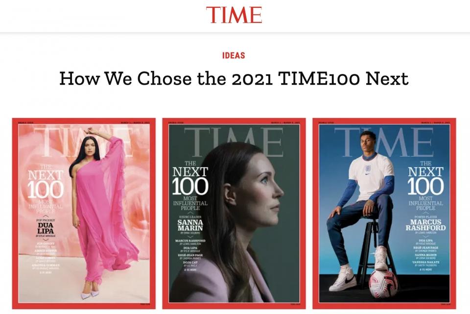 타임지가 17일(현지시간) 세계를 이끌 차세대 유망주 100인을 선정한 '넥스트 100'을 발표했다. ⓒ타임지 웹사이트 캡처