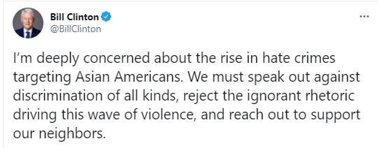 빌 클린턴 전 미국 대통령이 아시아계 미국인을 향한 혐오범죄의 증가를 우려하며 작성한 트윗 ⓒ빌 클린턴 트위터 캡처