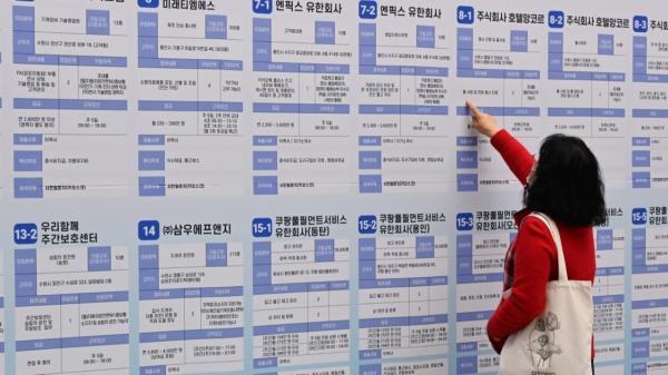 18일 오후 경기도 수원시청에서 열린 '2020 수원시 온라인 채용박람회'를 찾은 한 구직자가 채용게시판을 살펴보고 있다. ⓒ뉴시스