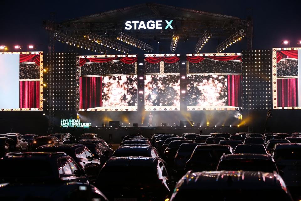 코로나19의 영향으로 자동차극장 수요는 1.4배 늘었다. 사진은 작년 5월 22~24일 현대자동차가 개최한 '현대 모터스튜디오 Stage X 드라이브 인 콘서트'. (사진=현대자동차 제공) ⓒ뉴시스·여성신문