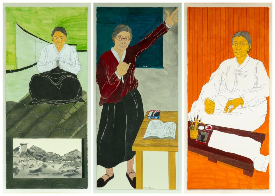 윤석남 화백 개인전 '싸우는 여자들, 역사가 되다'에서 선보이는 초상 14점 중 3점. 왼쪽부터 차례로 여성 독립운동가 강주룡, 김마리아, 남자현의 초상. ⓒ학고재