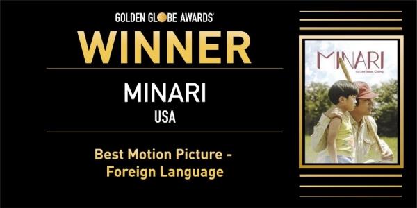 영화 '미나리'가 28일(현지시각) 저녁 열린 제78회 골든글로브 시상식에서 외국어영화상을 받았다. ⓒ제78회 골든글로브 시상식 트위터 캡처
