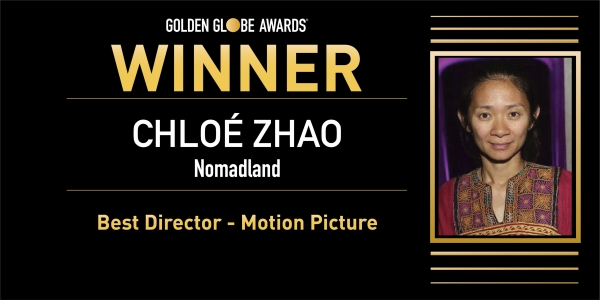 2월28일(현지시간) 열린 제78회 골든글로브 시상식에서 중국계 미국인 감독 클로이 자오(39)가 '노매드랜드'로 작품상과 감독상을 함께 받았다.  ⓒ골든글로브 공식 트위터 캡처