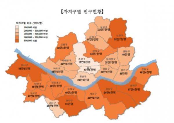 2020년 말 기준 서울시 자치구별 인구 현황 ⓒ서울시