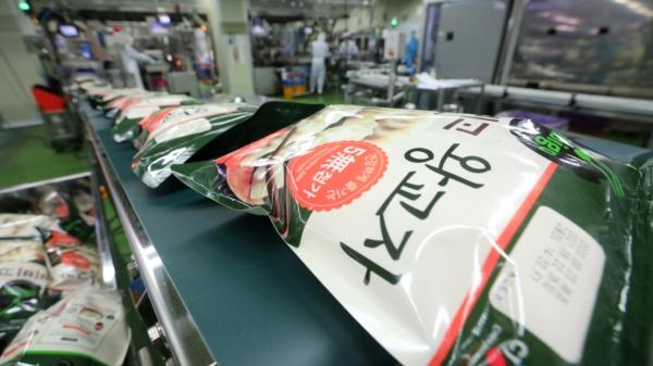23일 오후 인천 중구 CJ제일제당 인천냉동식품공장에서 만들어진 만두가 제조공정 라인을 따라 이동하고 있다. ⓒ뉴시스