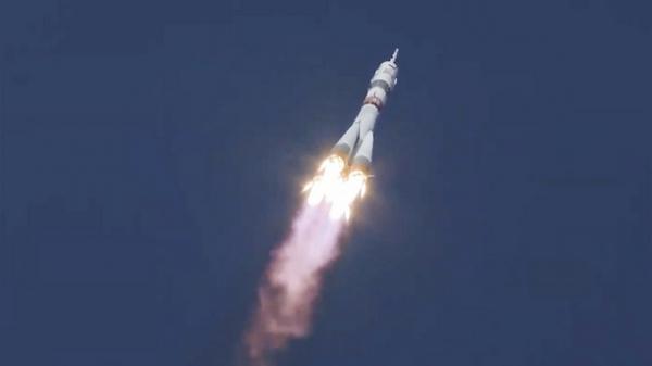2020년 10월 14일 카자흐스탄 바이코누르 우주기지에서 소유즈 MS-17 우주선이 발사되고 있다. ⓒAP/뉴시스