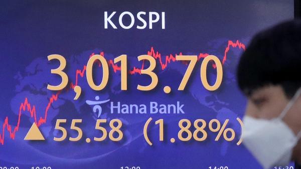 11일 오후 서울 중구 하나은행 딜링룸 전광판에 코스피가 표시되고 있다. ⓒ뉴시스