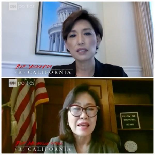 지난 18일 아시아계 차별과 증오범죄에 대응하기 위한 국회 청문회에서 발언하는 영 김 의원과 미셸 박 스틸 의원.  ⓒCNN 웹사이트 영상 캡처