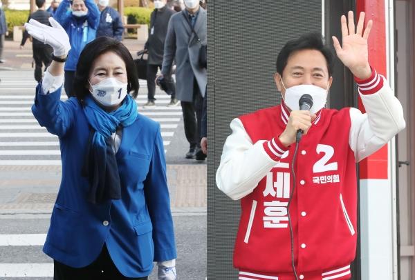 서울시장 재보궐선거에 출마한 박영선(왼쪽) 더불어민주당 후보와 오세훈 국민의힘 후보가 25일 오전 구로역과 응암역에서 각각 선거 유세를 하며 지지를 호소하고 있다.