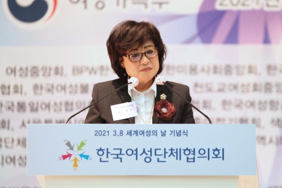 허명 한국여성단체협의회 회장은 8일 오후 서울 영등포구 공군호텔에서 3·8 세계 여성의 날 맞아 열린 '위대한 여성 함께하는 대한민국' 행사에 참석하고 축사 발언을 하고 있다. ⓒ홍수형 기자