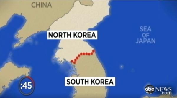 지난 2019년 미국 ABC 방송 보도 화면. 북한의 역사를 소개하는 방송에서 일본해로 단독 표기된 지도를 사용했다.  ⓒABC 방송