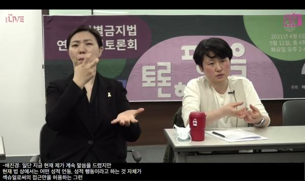 배진경 한국여성노동자회 대표가 고용 성차별 관련 발제를 하고 있다. ⓒ연분홍TV 생중계 영상 캡처
