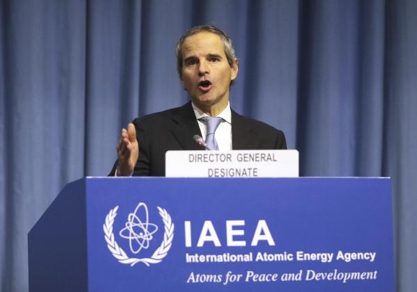 유엔 국제원자력기구(IAEA)의 새 사무총장으로 곧 취임할 아르헨티나 출신의 마리아노 그로시 대사가 2일 총회 개회식에서 연설하고 있다.  ⓒ뉴시스·여성신문