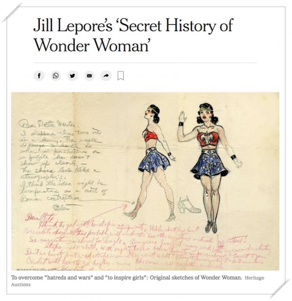 질 레포레 교수가 쓴 책  『우리가 몰랐던 원더 우먼의 역사』에 등장하는 조이 험멜의 대본. ⓒ뉴욕타임스 웹사이트 캡처