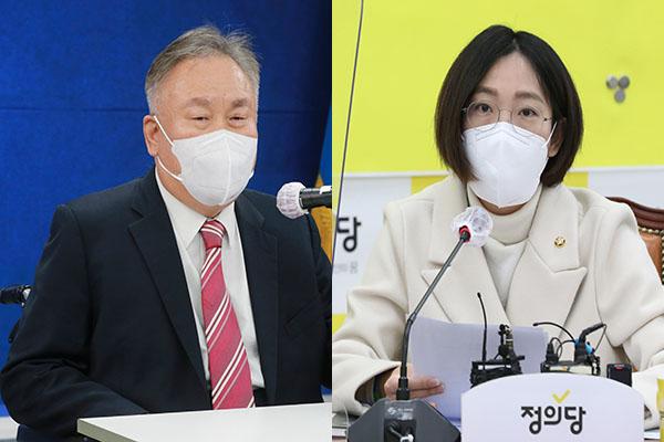 (왼쪽부터) 이상민 더불어민주당 의원, 장혜영 정의당 의원.