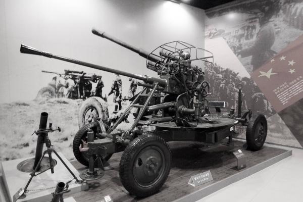 37㎜ 고사포(M-1939). 1939년 소련에서 생산한 대공포로, 한국전쟁 당시 북한군이 도입해 사용했다. 전쟁기념관 소장. ⓒ최규화