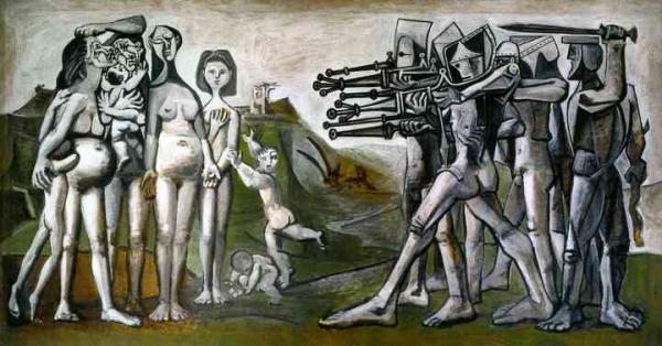파블로 피카소, '한국에서의 학살', 1951, 합판에 유화.  ⓒ2021 - Succession Pablo Picasso - SACK (Korea)