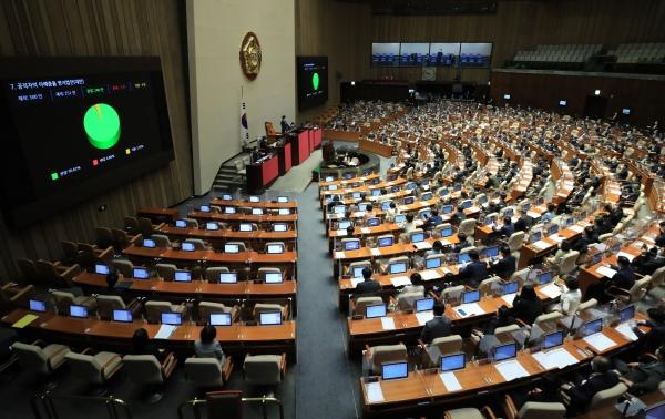 29일 오후 서울 여의도 국회에서 열린 본회의에서 공직자의 이해충돌 방지법안(대안)이 통과되고 있다. ⓒ뉴시스·여성신문